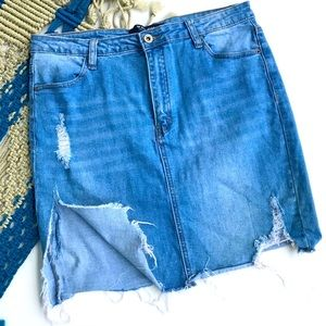 Wax Jeans Split Sides Distressed Denim Skirt